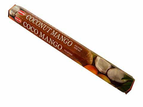 お香 ココナッツ&マンゴー香 スティック /HEM COCONUT&MANGO/インセンス/インド香/アジアン雑貨(ポスト投函配送選択可能です/6箱毎に送料1通分が掛かります)
