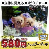 宅配便のみ 立体ピクチャー 3Dピクチャー 猫2匹 ET-219 風景 3Dの絵 3Dピクチャー 飛び出す 浮き出る 立体絵画 3D写真 3Dアート 立体写真 立体アート トリックアート 通販 02P29Aug16