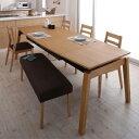 ダイニングテーブルセット 6人掛け おしゃれ 天然木オーク材 スライド伸縮式 6点セット(テーブル+チェア4脚+ベンチ1脚)