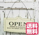 ビンテージ風 オシャレな OPEN & CLOSED(オープン&クローズド)英語 木製 両面ボード (アイボリー)木製 両面 ボード プレート お店 お部屋 インテリア ホワイト 白 ドアかけ