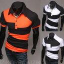 ゴルフウェア メンズ ポロシャツ 半袖 デザイン 2色カラー ツートンカラー 白黒 黒白 橙黒 ホワイトブラック ブラックホワイト オレンジブラック 襟付きシャツ えりシャツ 斜めボーダー ランダムボーダー ポップ 変則的しましま イレギュラーボーダー JPY