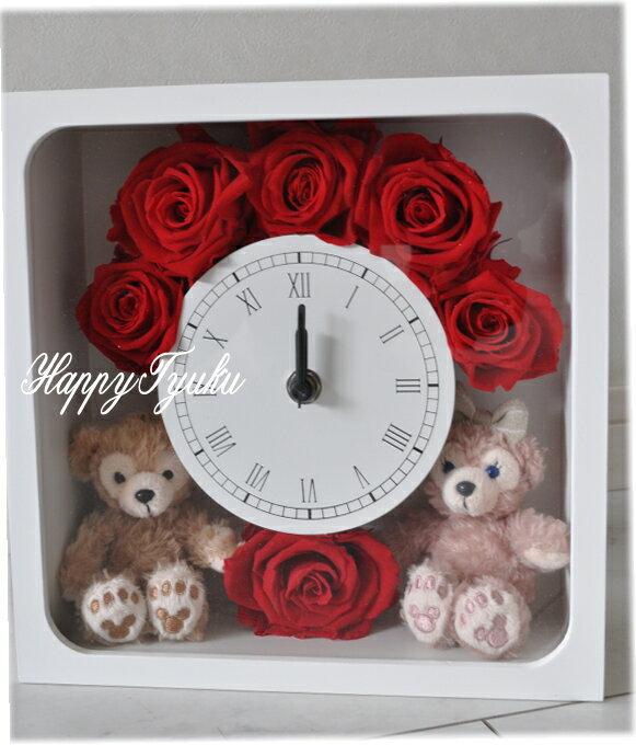花時計☆ホワイトデーにいかが?ディズニーシー★ダッフィー&シェリーメイがついた時計。掛け時計としても、置時計としてもつかえます。プレゼントにおすすめ!結婚祝い