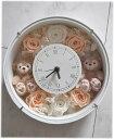 *花時計*ホワイトデーにいかが?ディズニーシー★ダッフィー&シェリーメイがついた時計丸。掛け時計としても、置時計としてもつかえます。プレゼントにおすすめ!プリザーブドフラワー 結婚祝い