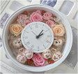 **花時計**結婚祝いにいかが?ディズニーシー★ダッフィー&シェリーメイがついた時計丸。掛け時計としても、置時計としてもつかえます。プレゼントにおすすめ!プリザーブドフラワー 結婚祝い★【Disney