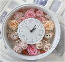 **花時計**結婚祝いにいかが?ディズニーシー★ダッフィー&シェリーメイがついた時計丸。掛け時計としても、置時計としてもつかえます。プレゼントにおすすめ!プリザーブドフラワー 結婚祝い★【母の日