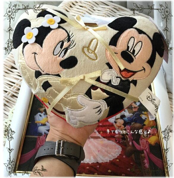 ミッキー&ミニーのふわふわのかわいいリングピロークッション♪WHITE☆ディズニー好きにぴったり☆ウエディング☆結婚式PINK
