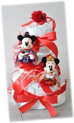 限定!☆ひなまつりオムツケーキ!ミッキー&ミニー☆3段!※ぬいぐるみは2枚目の写真に変更