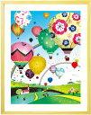 元気が出る絵画 インテリアアート「どこまでも どこまでも」■Sサイズ・ポエム付■ 空の絵画 花の熱気