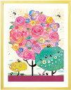 絵画 花 アート「しあわせ花音(カノン)」■Mサイズ・ポエム付■インテリア 壁掛け かわいい 壁飾り 額入り 笑顔 バラの絵 和みアート 感謝の絵 ピンク 薔薇