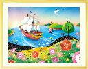 絵画 海 インテリア「輝きの朝」■Mサイズ・ポエム付■ 額入り 玄関に飾る絵画 風水 絵画 玄関 お