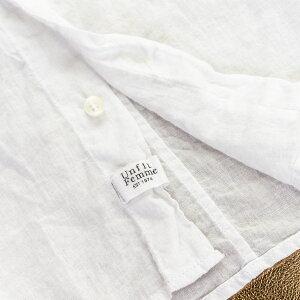 【綿100%】シャツ長袖シャツレディースコットンシャツガーゼシャツ薄手無地/コットン100%/白ホワイトブルーネイビーカーキ【UNFITfemme】