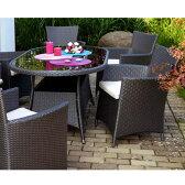 高級人工ラタン ガーデンテーブルチェアセットSunset.08(5点) 2タイプのテーブル選択可
