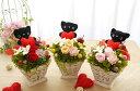幸せを呼ぶ黒猫ちゃん「ねこちゃんバスケット」 プリザーブドフラワー クリアケース入り バレンタイン