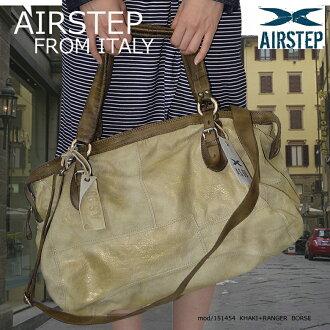 皮革袋皮革單肩包 / 皮革波士頓包 2 路 (AIRSTEP) 151454 (進口品牌保留皮革背包皮革包袋男子 / 婦女)