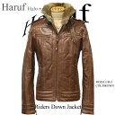 レザー ダウンジャケット メンズ 馬革 ホースハイド ライダース 革ジャン レザージャケット 大きいサイズ LUR5PBR