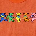 ショッピングプリント 【KIDS YOUTH TEE】グレイトフルデッド ダンシングベアーTシャツ・全1色-オレンジ/オフィシャル【デッドべアー ユースT バンドT ロックT キッズ 子供服 トップス 半袖 かすれプリント】DANCING BEAR ORANGE T-SHIRTS【GRATEFUL DEAD】【TOPS】【JR2401】