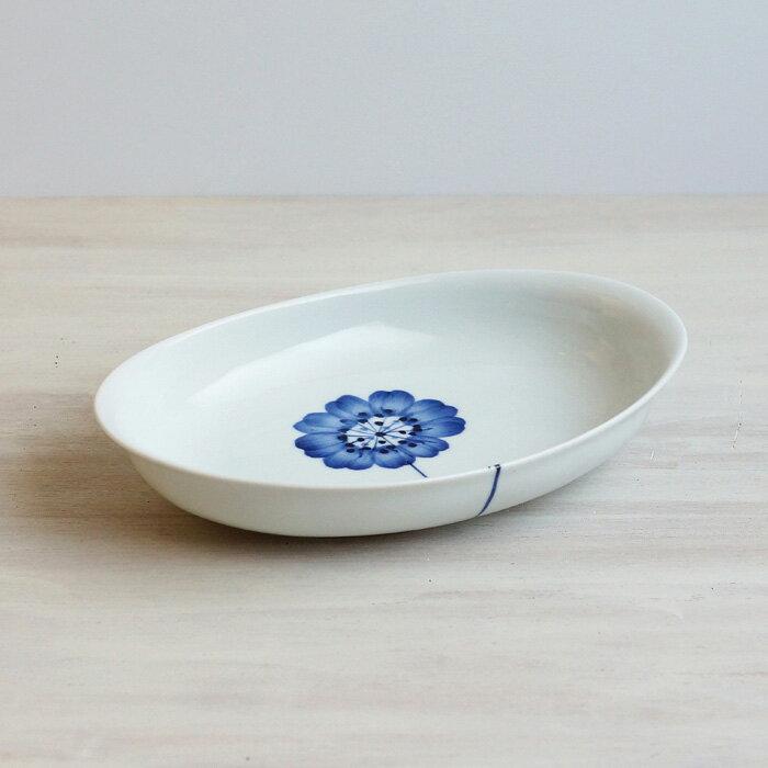 波佐見焼和山一輪花パスタ皿カレー皿和山窯一輪花耳付カレーパスタ皿機能的にも優れもの楕円皿食器おしゃれ
