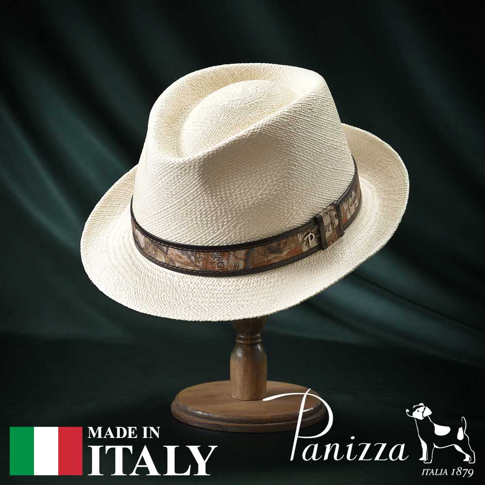 【高級パナマハット(パナマ帽)/Panizza(パニッツァ)】TENA SEMIBIANCO(テナ セミビアンコ)≪イタリアの高級老舗ブランドが作るおしゃれなパナマハット(中折れハット)メンズ/レディース/紳士/帽子/ハット/大きいサイズ/父の日ギフト/あす楽/送料無料≫