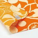 ショッピングフルーツ 風呂敷 マスク 手作りマスク 日本製 50cm幅 有職 和柄 リバーシブル 両面 橙色 オレンジ色 薄オレンジ色 ベージュ だいだいいろ 橙 みかん 柑橘 フルーツ 果物 モダン 北欧 インテリア スカーフ リメイク プレゼント 贈り物 包む 布 カバー 弁当包み 中巾 No.100-0050