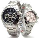 ペアウォッチ ペア腕時計 Don Clark ANNE CLARK メンズ腕時計 レディース腕時計 2本セット クロノグラフ 10気圧防水 天然ダイヤモンド ブ...