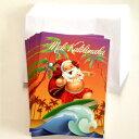 ハワイアンクリスマスカード「サーフィンサンタ」12枚セットハワイアンなデザインのクリスマスカード