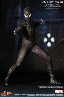 "Hot toys movie masterpiece ""Spider-Man 3"" Spider-Man (black costume version) 1/6 scale figure skating"