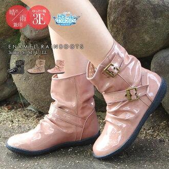 可愛雨靴婦女靴子黑色防水靴低跟靴女士雨鞋流行搪瓷長滑雪鞋傷害的婦女不容易磨損舒適休閒拖鞋 556-3679