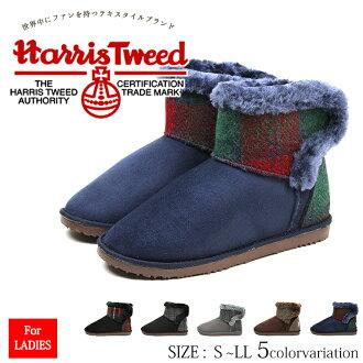 哈裡斯粗花呢哈裡斯粗花呢皇家羊皮靴女裝可拆卸 2 的方法在她靴子女士短大大小靴子婦女黑色腳跟毛茸茸的靴子寒冷的天氣 tk32487