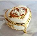 【ディズニー】オルゴール (ミッキー、ミニー)ハート形ホワイト宝石箱