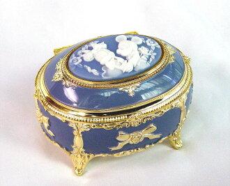 音樂米奇米妮銻藍色橢圓形首飾盒