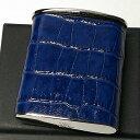携帯灰皿 革 おしゃれ タスカ ネイビー レザー クロコ型押し 日本製 PEARL 牛本革 紺 国産 ブランド かわいい プレゼント かっこいい 屋外 ギフト