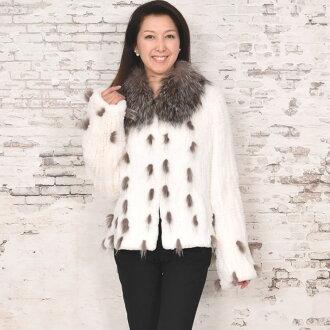 雷基二語習得咬編織的夾克免費送貨 ! (RB1563) [皮草毛皮] [婦女女士] [禮品禮物] [外] [女士] [兔] [冬季]