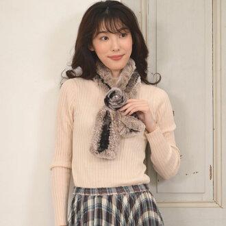雷基二語習得咬編織的 mufflercosurgiu (RF9182) 與 [05P01Oct16] 婦女毛皮真正遠兔陸地飛針織的禮品婚禮禮物消聲器兔毛圍巾圍脖女裝女士女士