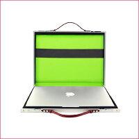 【PROTEX】ブリーフケース/MacBookケースRico(リコ)シルバー×グリーン
