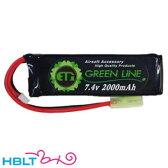 【ET1】バッテリー LIPO G 7.4v 2000mAh グリーンライン(ミニS)|ETG220/ET-1