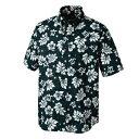 ショッピングアロハシャツ アイトス ボタンダウンアロハシャツ(ハワイの夜)(男女兼用) カラー:ブラック サイズ:L (BDアロハシャツ(ハワイ)) [56109ー010]【4548413408076_11057】