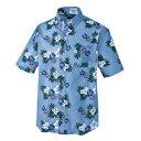 アイトス ボタンダウンアロハシャツ(カジーマ)(男女兼用) カラー:サックス サイズ:3L (BDアロハシャツ(ハイビスカス)) [56110ー007]【4548413408182_11057】