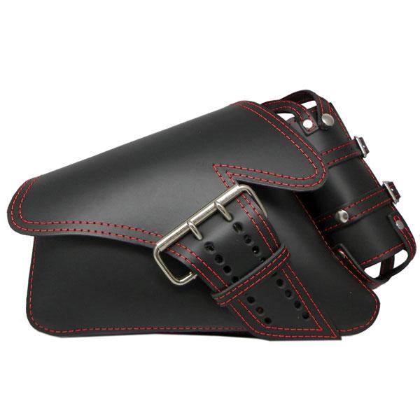 【サドルバッグ】La Rosa Design製 シングルベルト・本革スイングアームバッグ  ブラック/レッドステッチ ボトルホルダー付