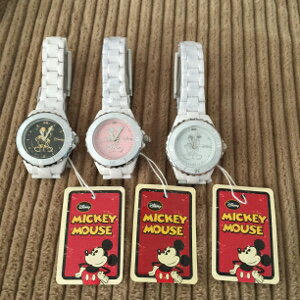 ハイブリッドセラミックミッキー時計ホワイト 2個セット 送料無料!