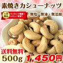 【送料無料】素焼きカシューナッツ 500g (無塩 無添加 無油) 食塩不使用 インド産 <保存に便利なジップ(チャック)袋> 健康 美容 ダイエット