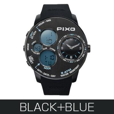 腕時計PX-5 BLACK+BLUE - PIXO [ポイント10倍] [送料無料] PIXO 腕時計PX-5 BLACK+BLUEがお得!
