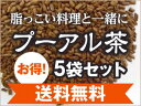 プーアル茶100%お得5袋セット【送料無料】1袋(3gティーバッグ×30包入)【ダイエット茶】【健康茶】