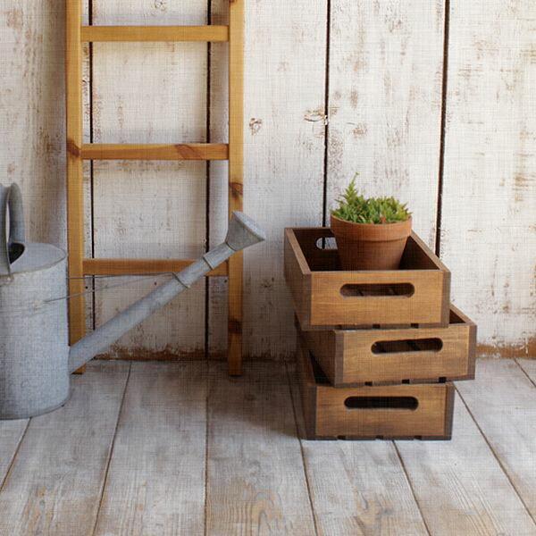 ウッドボックス・Lサイズ/スプルース材 収納 木製ボックス ジャンク 北欧 雑貨 木箱
