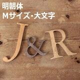 木製 アルファベット・明朝体・Sサイズ・大文字 『A〜Z/&』(高さ12cm基準) [moji27]