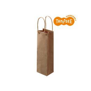 (まとめ)TANOSEE 手提袋 丸紐 茶無地・ワインボトル用 30枚入×10パック 店舗用品 手提袋 紙袋