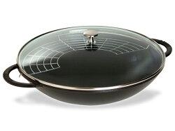 ストウヴ ガラス蓋付きWOK 中華鍋 (ブラックマット) 7QT