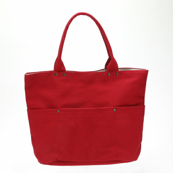 【SASICCO】【日本製】 柔道着の生地を使用した三河木綿バッグ バケット大 赤 【正規品】