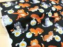 猫好き集まれ!USAコットン いたずら猫/猫柄/生地/布/綿