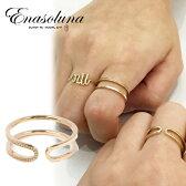 Enasoluna(エナソルーナ)W line ring 【RG-1014】リング K10 10金 イエローゴールド ライン 2WAY ゴールド 11号