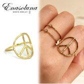 Enasoluna(エナソルーナ)' Peace dia ring '【RG-855】予約 K10 10金 ダイアモンド ダイア ピースマーク イエローゴールド 9号 11号 13号  指輪 リング ゴールド
